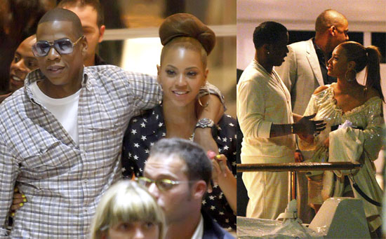 Photos Of Beyonce Knowles and Jay-Z With Diddy in France