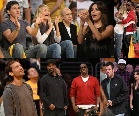 Photos of Cameron Diaz, Diddy, Eva Longoria at the Lakers vs. Spurs Game