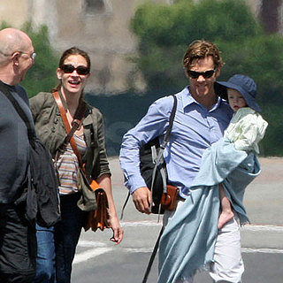 Julia Roberts, Danny Moder and Henry Moder Leave Rome