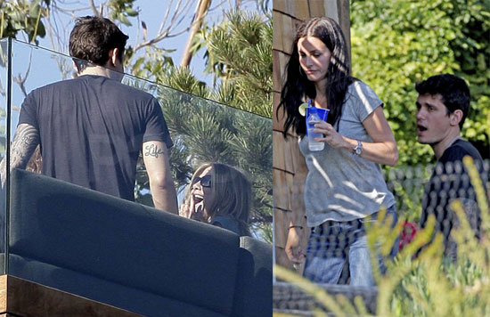 Photos of Jennifer Aniston and John Mayer with Courteney Cox in Malibu