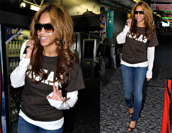 Photos of Beyonce Knowles Wearing a Texas T-Shirt