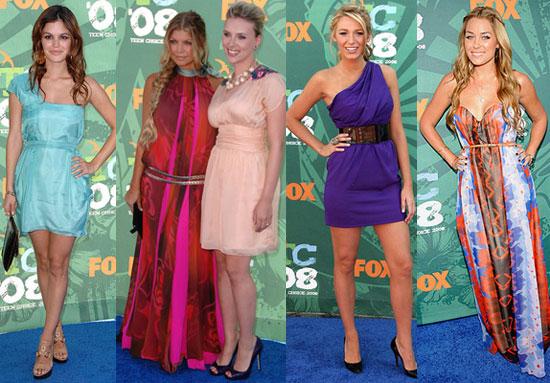 Photos of Celebrities on Teen Choice Awards Red Carpet, Blake Lively, Scarlett Johansson, Fergie, Miley Cyrus, Rachel Bilson