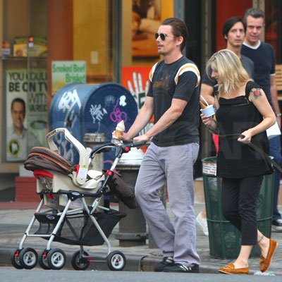 Ethan Hawke and Newborn Daughter Out in NYC