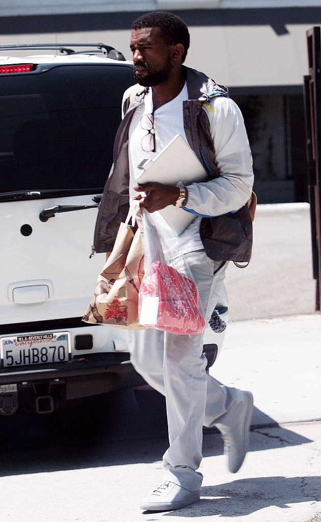 Kanye Skips the Shave to Crank Out Beats and Eats