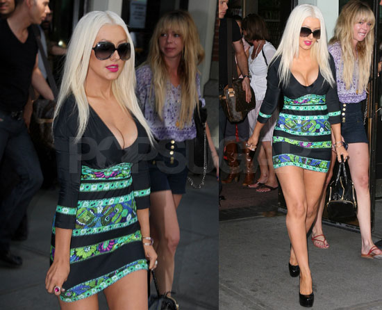 Photos of Christina Aguilera Wearing a Super Short Dress in NYC
