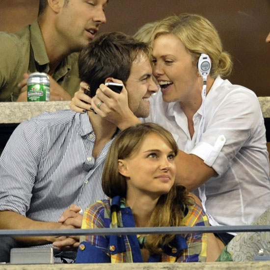 Photo of Charlize Theron, Stuart Townsend and Natalie Portman at US Open Women's Championship Game
