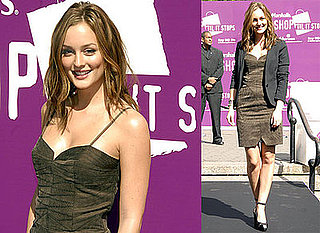 Photos of Leighton Meester in Union Square in New York City at A Domestic Violence Event