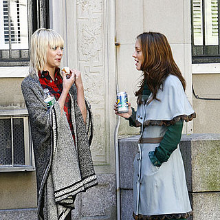 Leighton Meester and Taylor Momsen on the Set of Gossip Girl