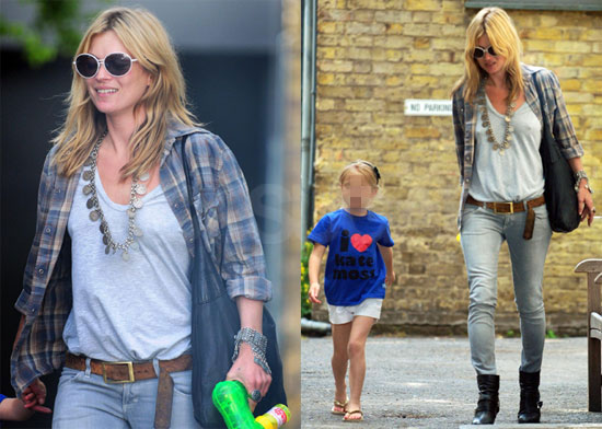 """Photos of Kate Moss and Lila Hack in an """"I Love Kate Moss"""" Tee-Shirt"""
