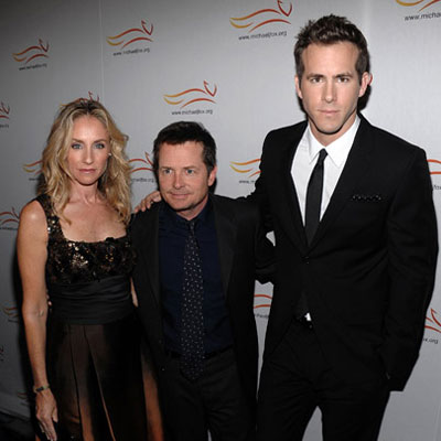 """Ryan Reynolds, Michael J Fox and Tracy Pollan at the """"A Funny Thing Happened On The Way To Cure Parkinson's"""" Benefit"""