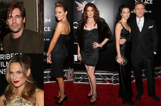 Photos of Daniel Craig, Satsuki Mitchell, Jon Hamm, Debra Messing and Becki Newton at the Quantum of Solace James Bond Screening