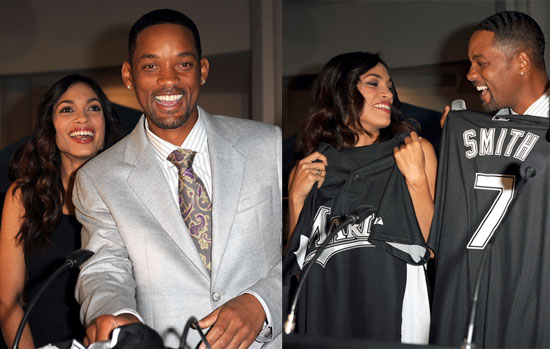 Photos of Will Smith and Rosario Dawson at the Marlins charity screening of Seven Pounds
