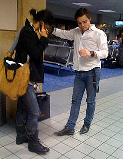 Photo of Ed Westwick and Jessica Szohr at Dallas Airport