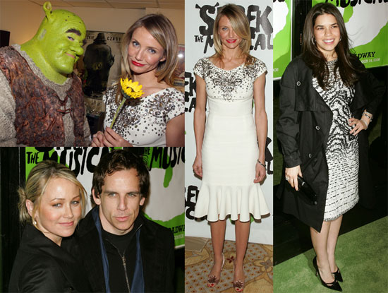 Photos of Cameron Diaz, America Ferrera, Ben Stiller, Michael Urie, Christine Taylor at the Premiere of Shrek the Musical