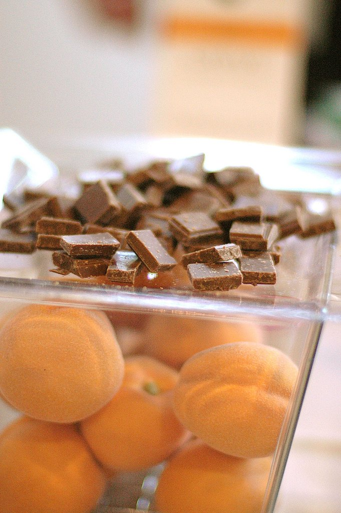 "One of the main trends was flavor-infused chocolate. Here the NewTree company shows off ""Crave,"" its apricot-infused milk chocolate."