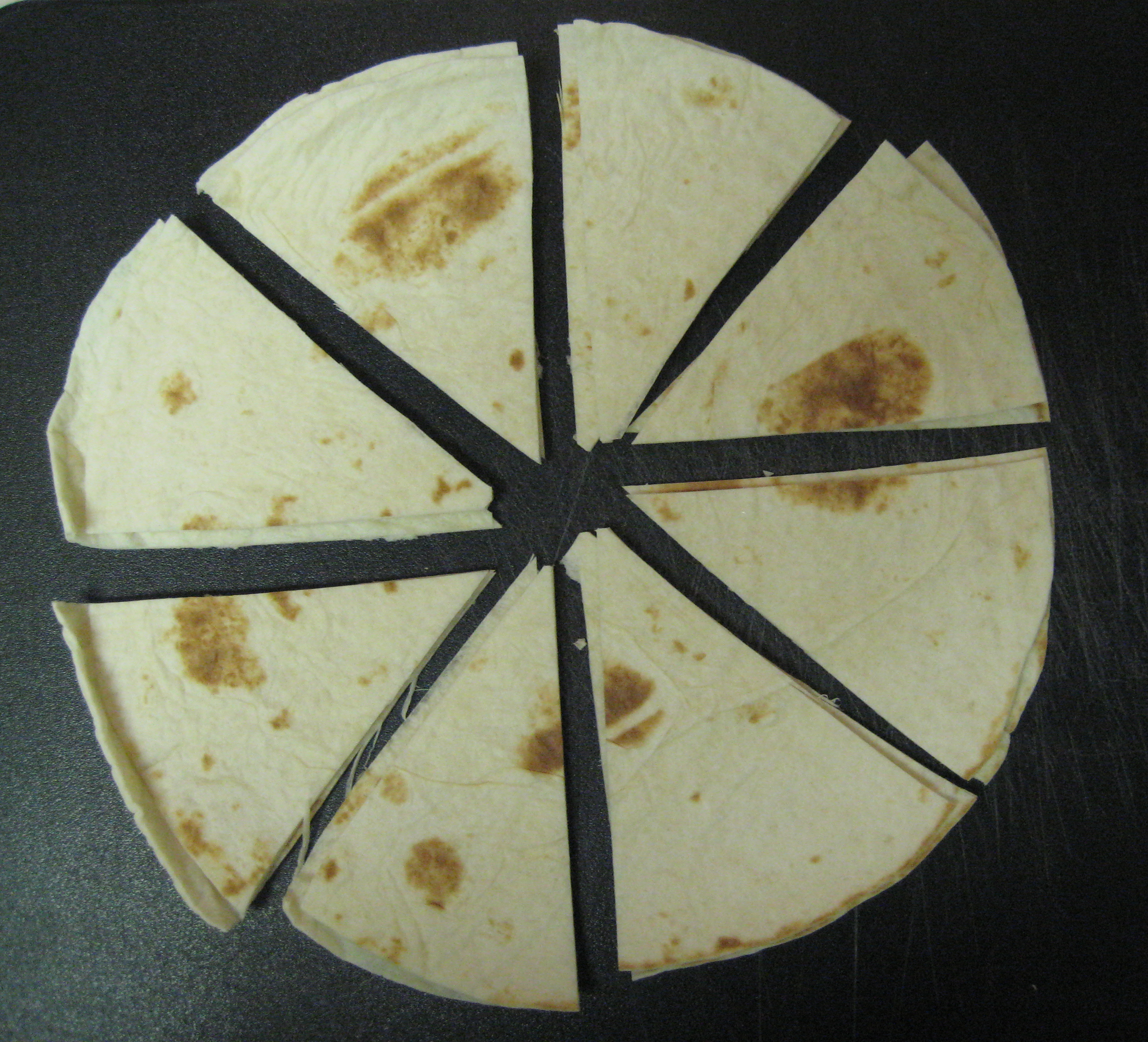 Slice the tortillas as you would a pizza or pie.