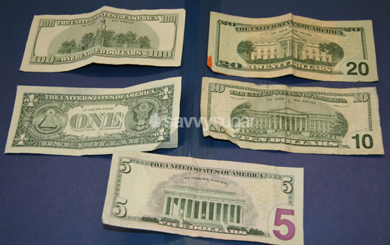 The backs of the bills are distinctly different from one another, with the twenty and ten resembling each other most.