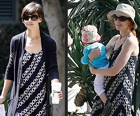 Katie Holmes and Marcia Cross in Vince Dress