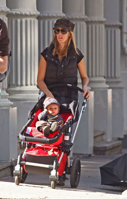 Kim Raver Takes Her Son For a Stroll in the Lipstick Jungle