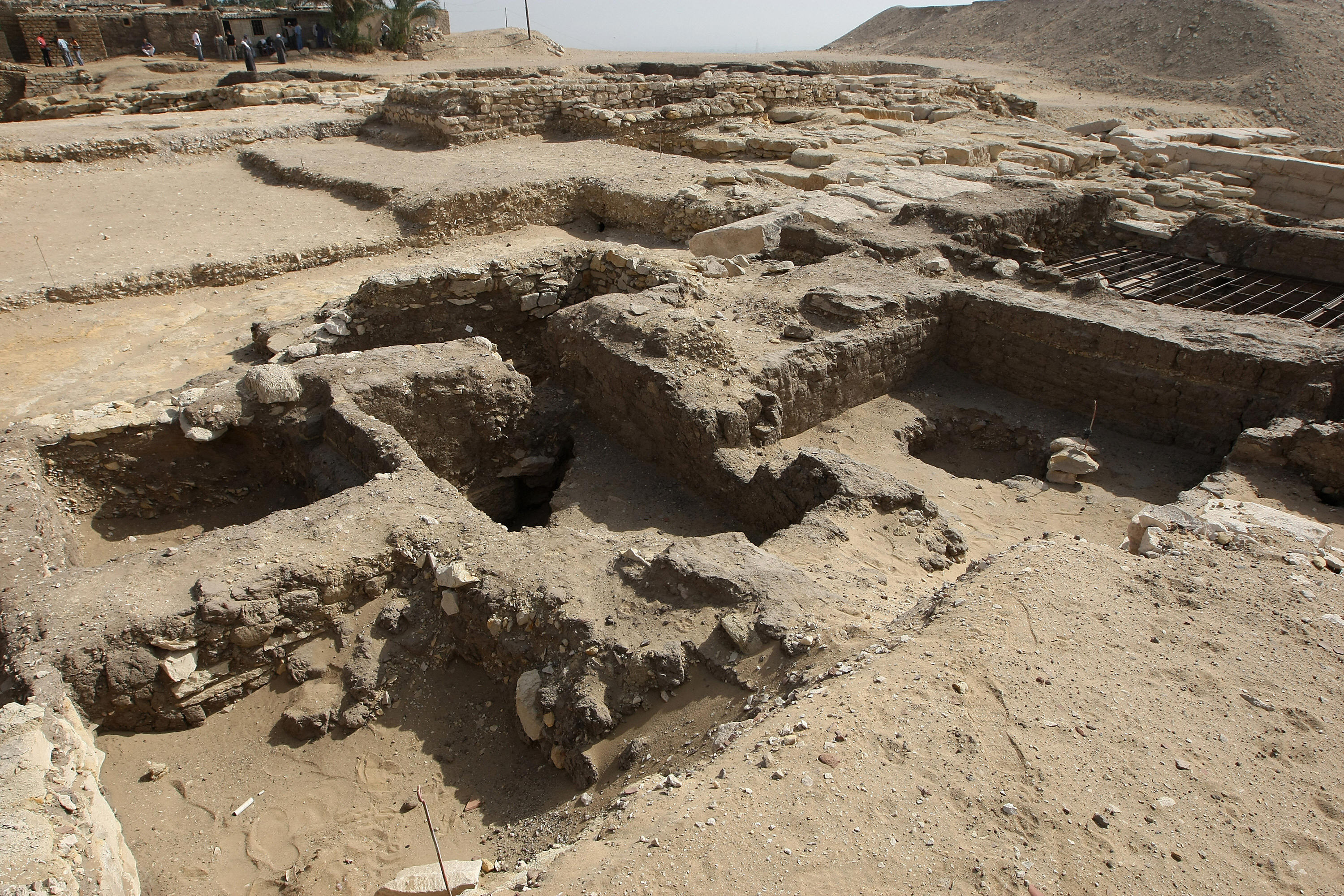 A general view shows the excavation site.