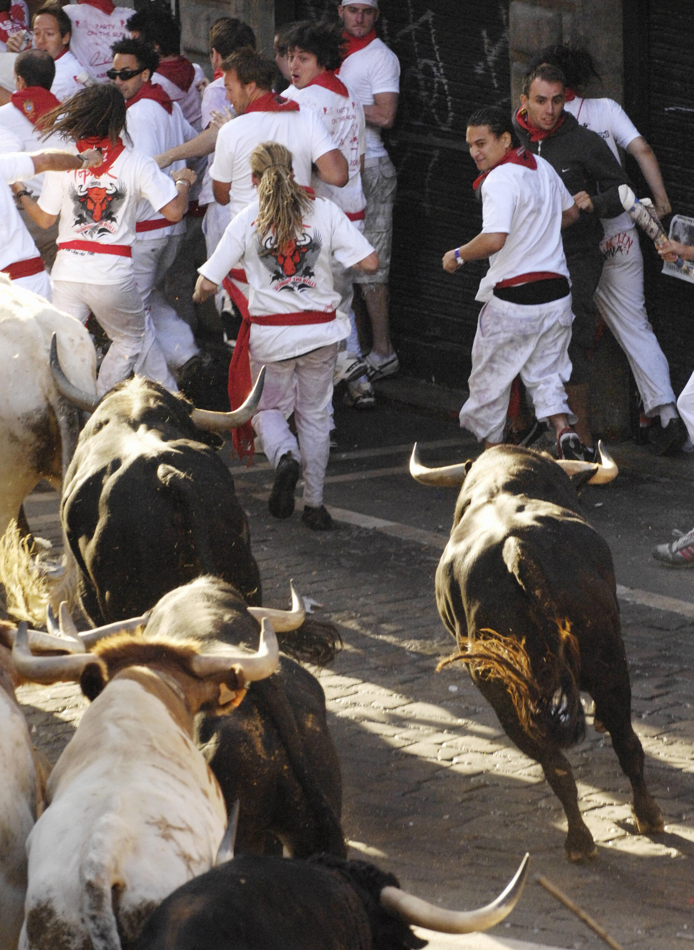 The course leads to the arenas where bullfights are later staged.
