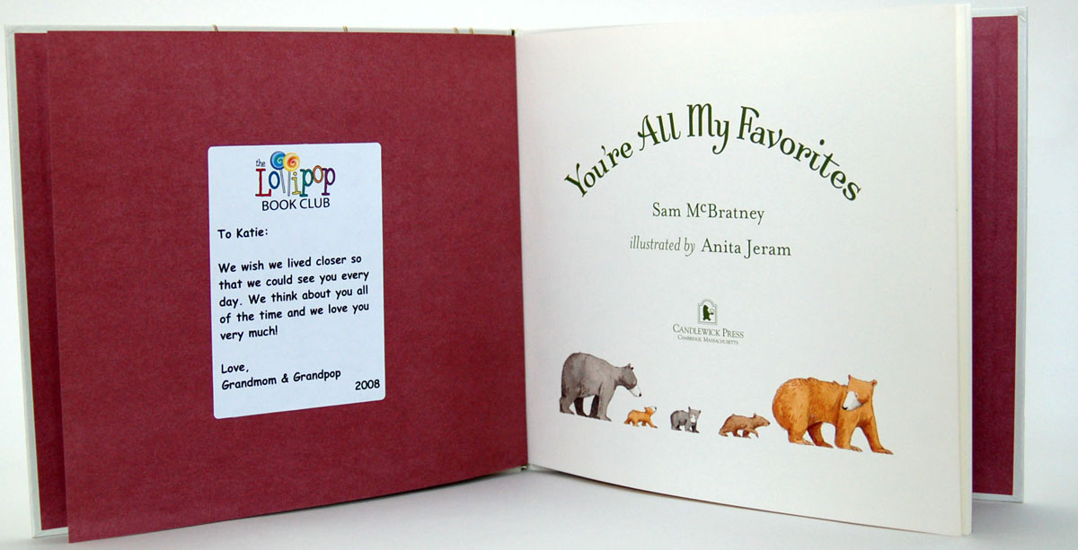Personalized message placed inside book