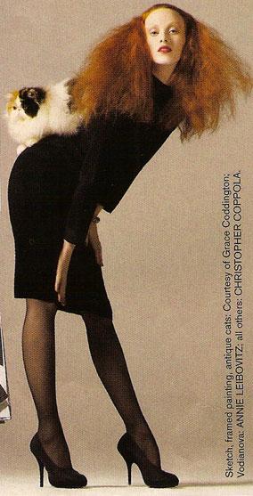 Karen Elson Pulls On Her Grace Coddington Face for Vogue August 2008