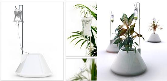 Cool Idea: I.V. Self-Watering Plant Pot