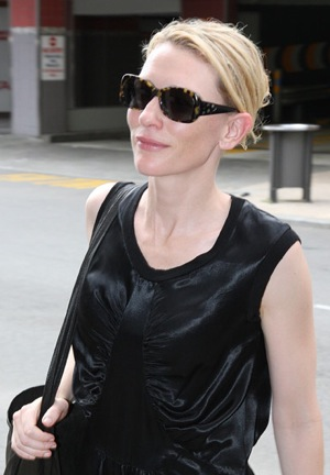 Actress Cate Blanchett Wearing Tortoise Sunglasses in Perth, Australia