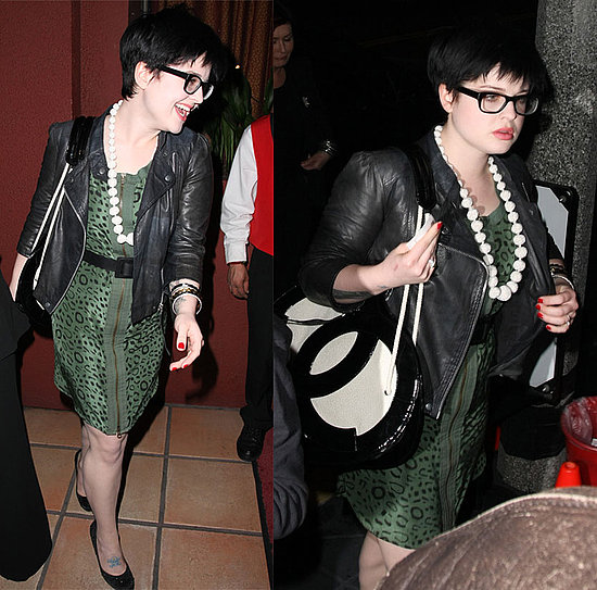 Kelly Osbourne Leaves Elton John's Birthday in Green Leopard Dress and Leather Jacket