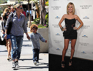 Heidi Klum in Sneakers and Black Louis Vuitton Dress