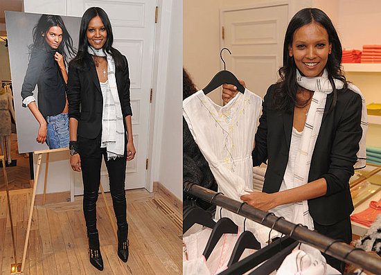 Liya Kebede Debuts Kids' Clothing Line, LemLem. at J. Crew NYC Wearing Black Shiny Leggings and a Black Blazer