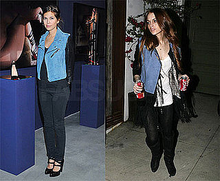 Russian Socialite Dasha Zhukova and Lindsay Lohan Both Wear Alexander Wang's Suede and Leather Motorcycle Jacket