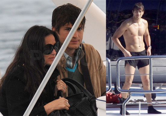 Photos of Shirtless Ashton Kutcher Filming Five Killers and Demi Moore in Nice, France