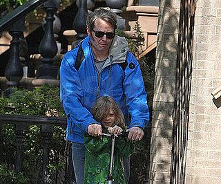Photo of Matthew Broderick and James Wilkie Heading to School