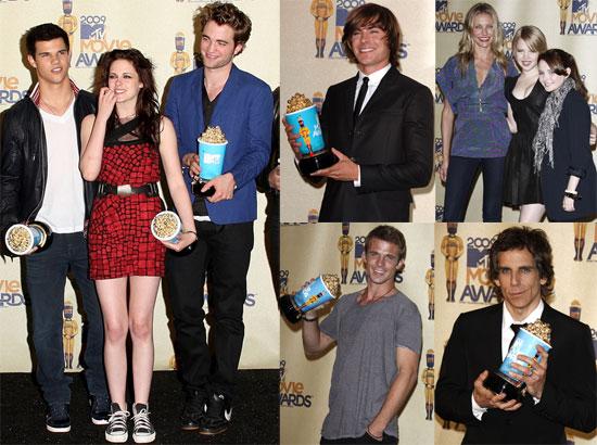 Photos of Robert Pattinson, Kristen Stewart, Taylor Lautner, Cameron Diaz, Ben Stiller, Zac Efron at 2009 MTV Movie Awards