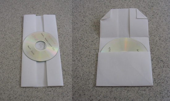 DIY CD or DVD Case Made From Folded Piece of Paper