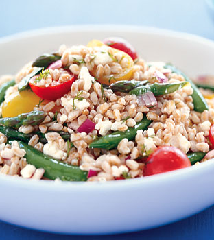 Recipe for Spring Farro Salad With Peas, Asparagus, & Feta