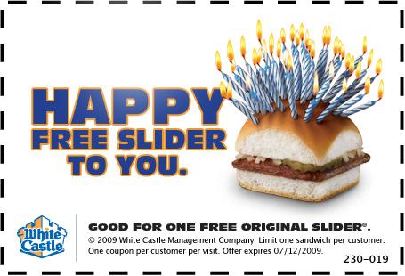 White Castle Free Slider Coupon