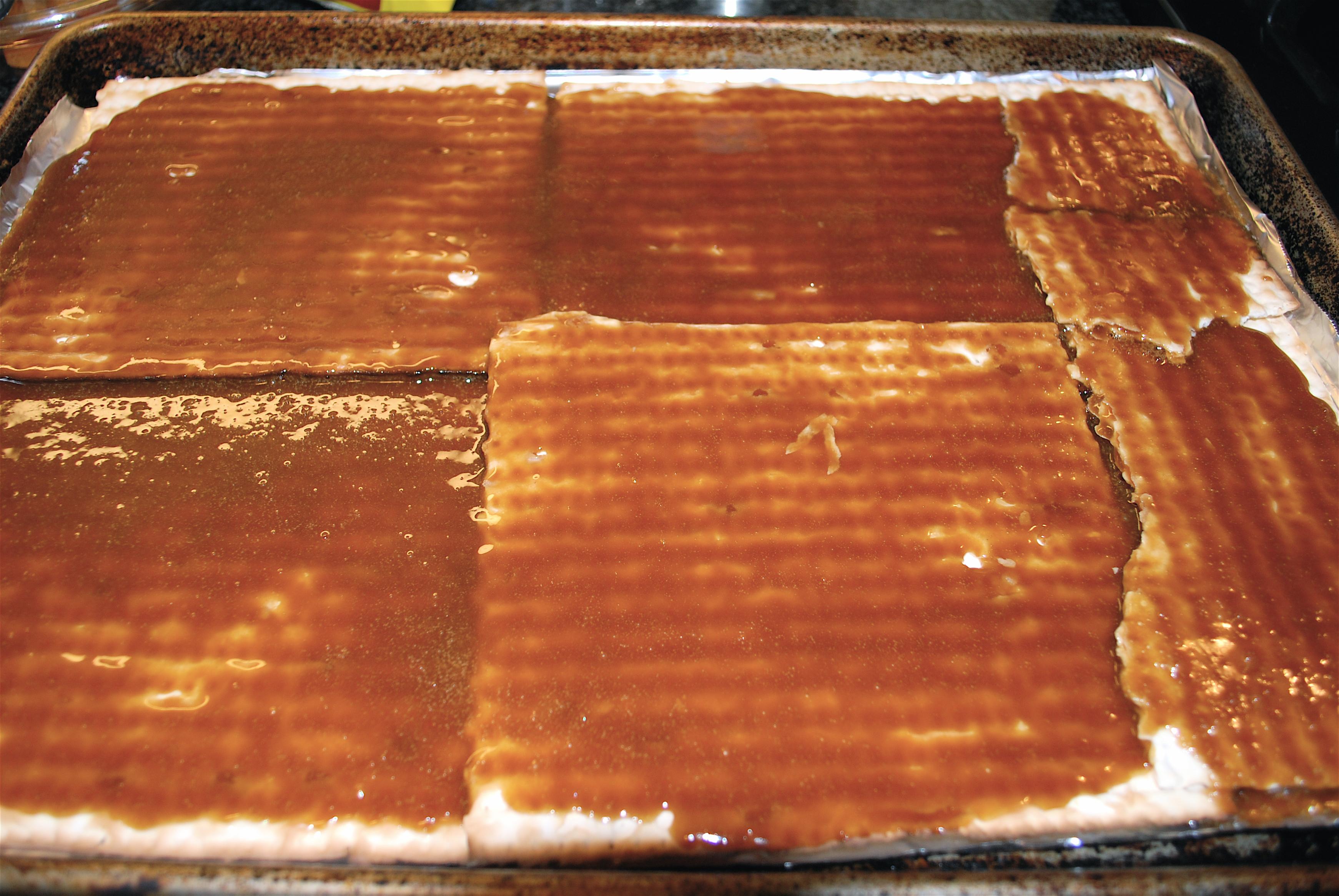 Pour Caramel Over Matzoh