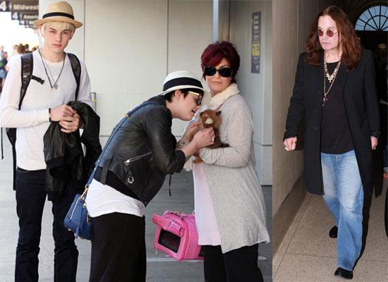 Photos Of Ozzy, Sharon, Kelly Osbourne and Luke Worrell At LAX