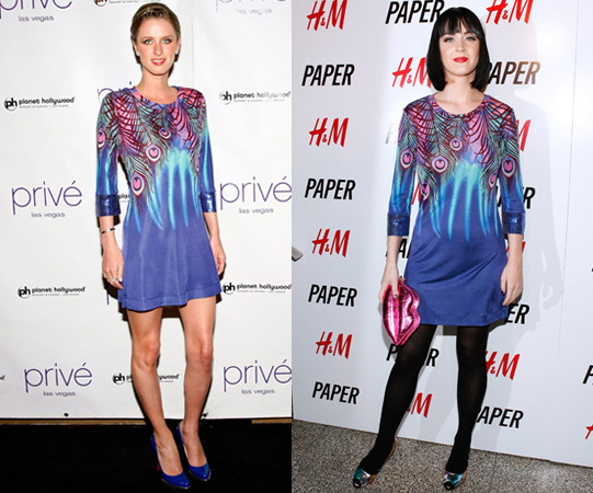 Nicky Hilton and Katy Perry in Matthew Williamson for H&M Peacock Dress
