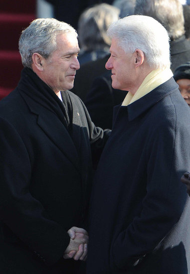 Front Page: Bill Clinton and George W. Bush Book Joint Speech