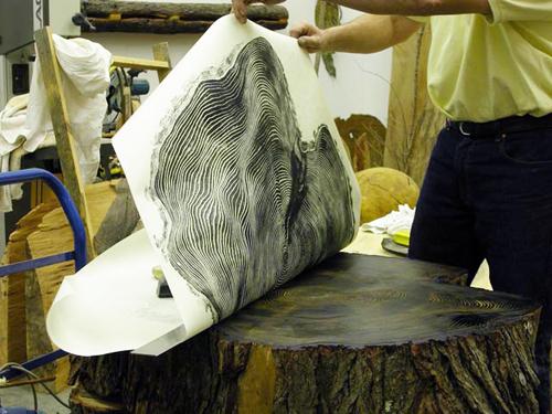 Cool Idea: Tree Stump Relief Printing