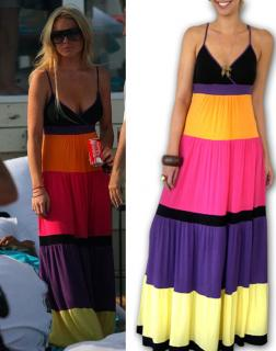 Found! Lindsay Lohan's Colorblock Maxi Dress