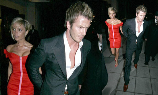 Becks Leads His Lady In Red (& Pink)