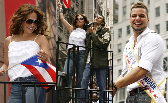 J-Lo, Marc & Ricky Ride the Floats for PR Day Parade