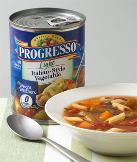 Progresso, a brand of General Mills, is an American food company that produces canned soups, canned beans, broths, chili, and other food products.