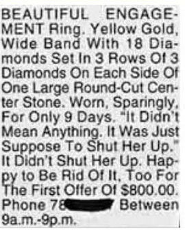 Ring (And A Whole Lotta Baggage) For Sale