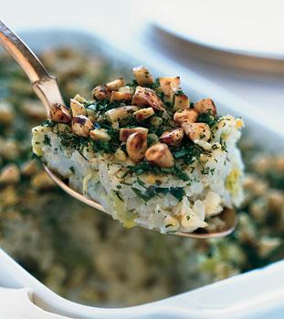 Passover Side: Cauliflower-Leek Kugel With Almond-Herb Crust